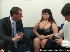Chubby mature seduced by two young guys Thumb