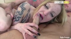 Frisky Dirty Babe Rides Cock While Blows Another Thumb