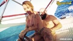 MAMACITAZ - Cute Crazy MILF Rides Cock While Driving Boat Thumb