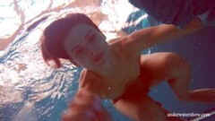 Wet hairy brunette teen in the pool naked Thumb