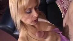 Blonde tugging on hard cock Thumb
