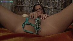 Stunner Black Angelika striptease and solo session Thumb