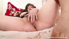 Naughty Brunette teases big natural tits wanks in vintage nylon Thumb