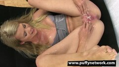 Cute Drenched blonde gushes everywhere Thumb