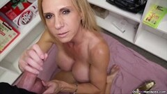 Kinky Milf Offers Her Helping Hand With Cum Filled Sack Thumb