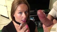 Cum spunk eating subslut Ashley Rider disciplined by Master Thumb