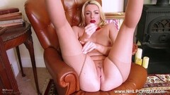 Frisky blonde tease in crotchless pantyhose red heels Thumb