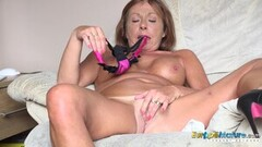 Horny Hot Babe Playing With Glass Toy Thumb