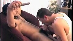 Hot brunette jerks and sucks cock for cash Thumb
