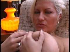Hot blonde plays with her own pussy and tits Thumb