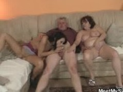 His GF is seduced by old mom and fucked by old daddy Thumb