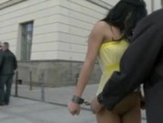 Sexy ass babe with leish walking nude through public plazza humil Thumb