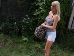 Sexy blonde Raphaela dildos her tight pussy - CzechSuperStars Thumb