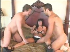 Dark haired babe takes two cocks - Pandemonium Thumb