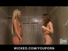 Busty brunette slut & blonde girlfriend lick each other in shower Thumb