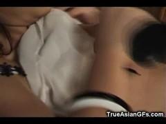 Hairy Asian GF Dildo Sucking and Masturbation Thumb