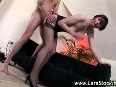 European babe in stockings gets fucked from behind Thumb