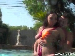 Pure big tits gets hot action in pool from lucky guy Thumb