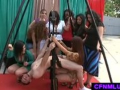 Hot girls dominating a guy in CFNM femdom play Thumb