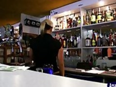 Busty barmaid gets paid a lot to blow in the backroom of cafe Thumb