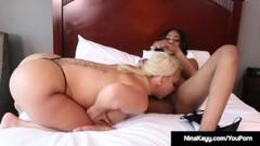 Interracial Lesbians Nina Kayy & Lala Ivey Scissor Snatches! Thumb