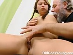 Anna rides her older man and fills her young pussy with his older hard cock Thumb