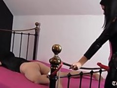 Hot femdom penetrates sissy slaves tight ass deep with huge strapon cock Thumb