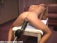 Petite french blonde demolished by a brutal dildo machine Thumb