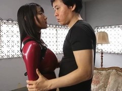 Japanese in Latex Catsuit, shiny ass and legs HD Thumb