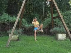 Asuna on the swing stripping Thumb