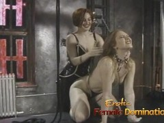 Naughty slut watches as two sexy babes have fun in the dungeon Thumb