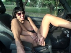 Sexy Brunette Flash Pussy in Car. Hot Orgasm. Thumb