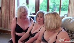 AgedLovE Three Mature Ladies Occupying One Cock Thumb