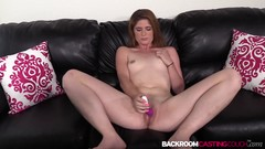 Tight amateur Kate fed cum after anal riding interview Thumb