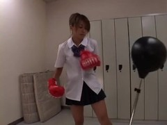 Japanese Schoolgirl Boxer Humps Around Thumb