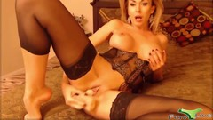 Charming cougar Olga fucks both holes Thumb