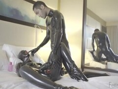 LATEX DOLL WITH RUBBER CONDOM CATSUIT Thumb