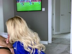 Amber Jade having sex in front of football on TV Thumb