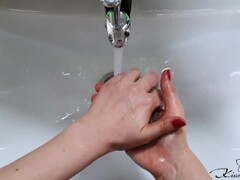 Diligently Washing Husband's Hands and He Washes My Hands #SCRUBHUB Thumb