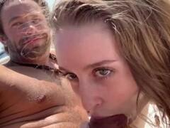 Hot teen babe blows random stranger with big cock at public beach Thumb